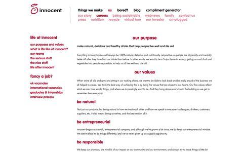 Screenshot of Jobs Page innocentdrinks.co.uk - innocent – 100% pure fruit smoothies, orange juice, kids smoothies and tasty veg pots - captured Dec. 4, 2017