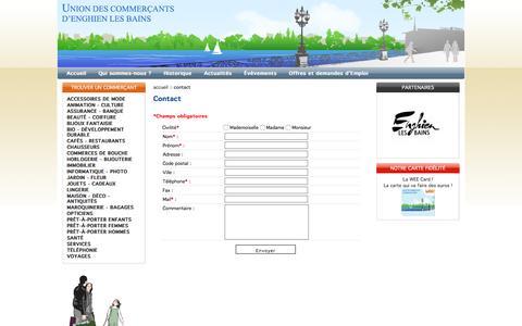 Screenshot of Contact Page commerces-enghienlesbains.fr - Union des commerçants d'enghien les bains - captured April 24, 2016