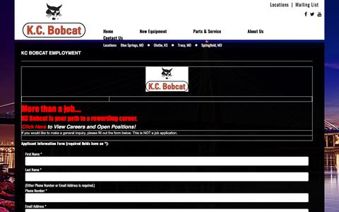 Screenshot of Jobs Page kcbobcat.com - Missouri & Kansas Bobcat Dealer Careers | Jobs in Construction Equipment Sales, Rentals, Parts & Service MO & KS - captured Sept. 20, 2018