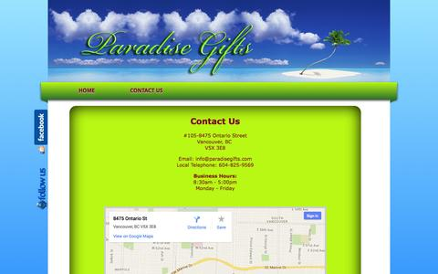 Screenshot of Contact Page paradisegifts.com - Paradise Gifts Vancouver - captured Oct. 1, 2014