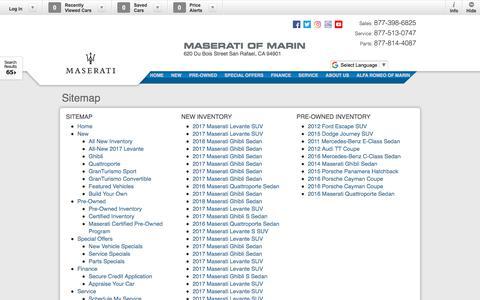Screenshot of Site Map Page maseratimarin.com - Maserati of Marin   New Inventory for sale in San Rafael, CA 94901 - captured Feb. 16, 2018