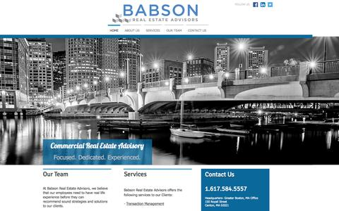 Screenshot of Home Page babsonre.com - Babson Real Estate Advisors | Commercial Real Estate Advisory | Boston - captured Sept. 10, 2015