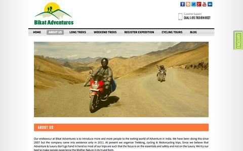 Screenshot of About Page bikatadventures.com - About Us - captured Oct. 5, 2014