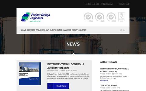 Screenshot of Press Page pde.co.uk - News | Project Design Engineers - captured Nov. 14, 2016