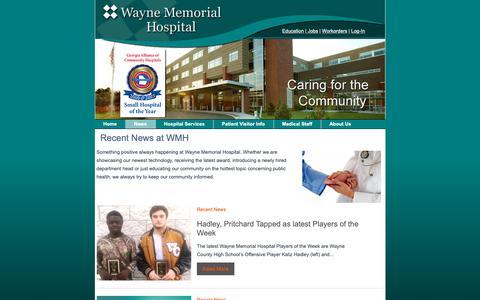 Screenshot of Press Page wmhweb.com - Recent News at WMH - Wayne Memorial Hospital - captured Nov. 1, 2018