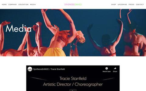 Screenshot of Press Page synthesisdance.org - Media — Synthesis Dance | Tracie Stanfield | Concert Modern Jazz Dance Company | New York City - captured May 29, 2019