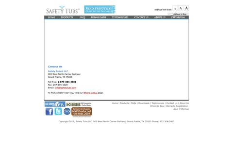 Screenshot of Contact Page americanstandard-us.com - Contact Us  |  Safety Tubs - captured Oct. 1, 2018
