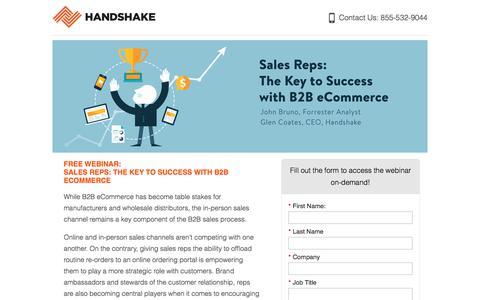 Screenshot of Landing Page handshake.com captured March 5, 2018