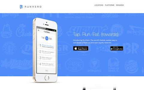 Screenshot of Home Page runhe.ro - RunHero Inc - captured Oct. 9, 2014