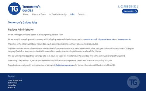Screenshot of Jobs Page tomorrows.co.uk - Welcome to Tomorrow's Guides - captured Nov. 23, 2016
