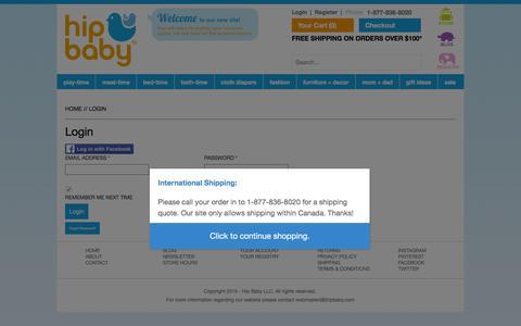 Screenshot of Login Page hipbaby.com - Hip Baby - Login - captured Dec. 10, 2015