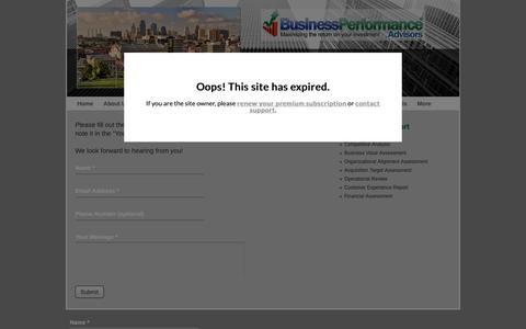 Screenshot of Contact Page bpa-kc.com - Business Performance Advisors - Contact Us - captured Oct. 13, 2018