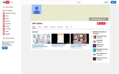 Screenshot of YouTube Page youtube.com - Jeff Justice  - YouTube - captured Oct. 31, 2014