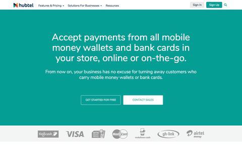 Screenshot of Support Page hubtel.com - Payments - Hubtel - captured Sept. 29, 2017
