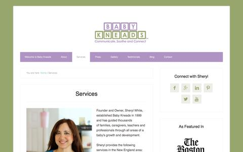 Screenshot of Services Page babykneads.com - Services - captured July 28, 2016