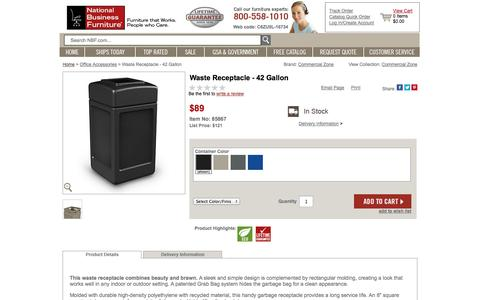 Screenshot of Landing Page nationalbusinessfurniture.com - Waste Receptacle - 42 Gallon - 85867 and more Office Accessories - captured Oct. 27, 2014