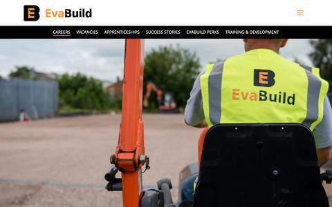 Screenshot of Jobs Page evabuild.co.uk - Careers | Evabuild - captured Sept. 29, 2018