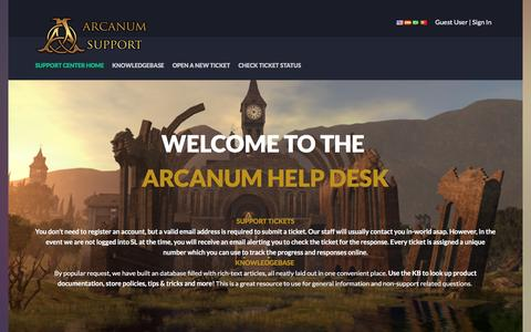 Screenshot of Support Page slmagic.com - Arcanum Support - captured Feb. 6, 2016