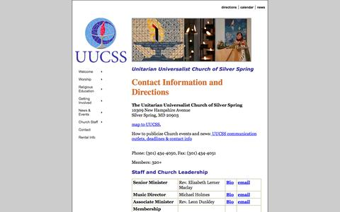 Screenshot of Contact Page Maps & Directions Page uucss.org - Contact info and directions to UUCSS - captured Oct. 22, 2014