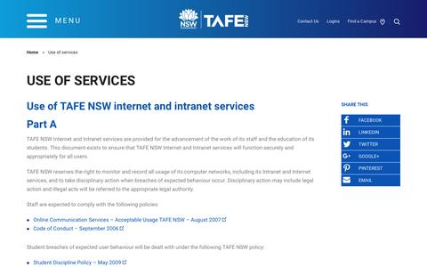 Use of services - TAFE