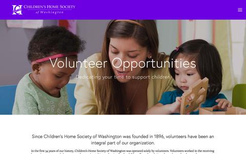 Screenshot of Support Page childrenshomesociety.org - Volunteer — Children's Home Society of Washington - captured July 29, 2017