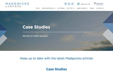 Screenshot of Case Studies Page madgwicks.com.au - Case Studies Archive - Madgwicks Lawyers - captured May 25, 2017