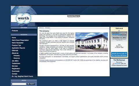 Screenshot of About Page werthinc.com - Company - Werth Inc. - captured Nov. 5, 2014