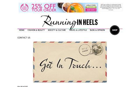 Screenshot of Contact Page runninginheels.com - Running in Heels  |   Contact Us     » Running In Heels - captured Sept. 24, 2014