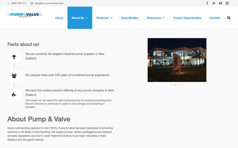 Screenshot of About Page pumpandvalve.com - Industrial | NZ | Pump and Valve | About Us - Our Story - captured Sept. 29, 2018