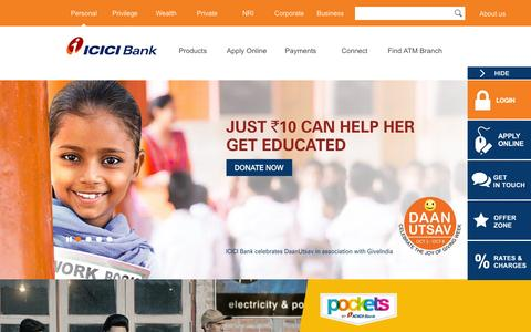 Screenshot of Home Page icicibank.com - Personal Banking, Online Banking Services - ICICI Bank - captured Oct. 7, 2015