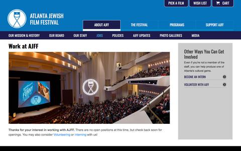 Screenshot of Jobs Page ajff.org - Work at AJFF | Atlanta Jewish Film Festival - captured Sept. 22, 2018