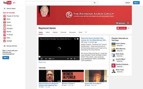 Screenshot of YouTube Page youtube.com - Raymond Aaron  - YouTube - captured Nov. 4, 2014