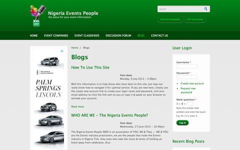Screenshot of Blog nigeriaeventspeople.com - Blogs | Nigeria Events People - captured March 3, 2016