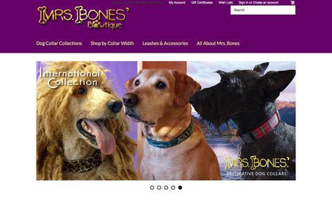Screenshot of Home Page mrsbones.com - Designer Dog Collars By Mrs. Bones Decorative Designer Dog Collars - captured Jan. 12, 2016