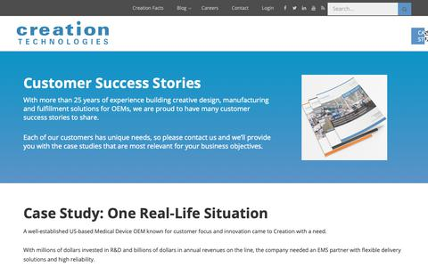 Screenshot of Case Studies Page creationtech.com - Case Studies | Creation Technologies LP - captured Nov. 11, 2018