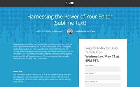 Screenshot of Landing Page bloc.io - Bloc Tech Talks - Harnessing the Power of Your Editor (Sublime Text) - captured Oct. 29, 2016