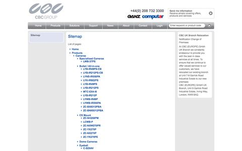 Screenshot of Site Map Page cbceurope.com - Sitemap - captured Oct. 1, 2014