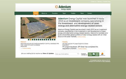 Screenshot of Home Page adeniumcapital.com - Adenium - captured Oct. 4, 2014