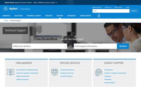 Screenshot of Support Page agilent.com - Technical Support | Agilent - captured Sept. 17, 2019