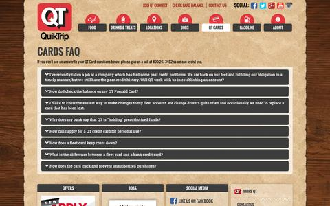 Screenshot of FAQ Page quiktrip.com - QuikTrip Corporation > QT Cards > FAQ - captured Dec. 5, 2016