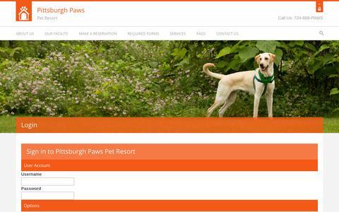 Screenshot of Login Page pghpaws.com - Pittsburgh Paws Pet Resort :: Login - captured Oct. 2, 2014