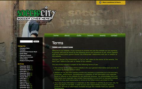Screenshot of Terms Page mysoccercity.ca - Terms   Soccer City - Soccer Lives Here - captured Oct. 6, 2014
