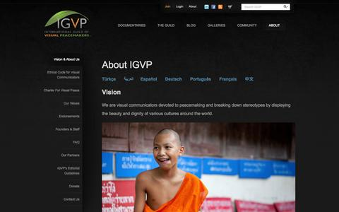 Screenshot of About Page visualpeacemakers.org - About IGVP | International Guild Of Visual Peacemakers - captured Oct. 6, 2014
