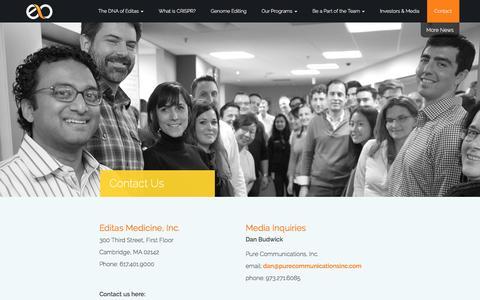 Screenshot of Contact Page editasmedicine.com - Contact Us - captured Sept. 8, 2016