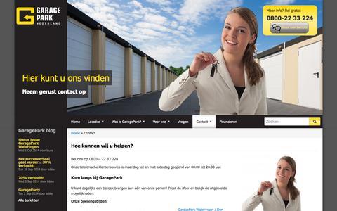 Screenshot of Contact Page garagepark.nl - Contact - Adresgegevens - Telefoonnummer   Garagepark - captured Oct. 2, 2014