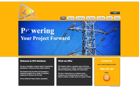 Screenshot of Home Page epcsolutions.com.au - epc solutions, electrical contractors, project management, electrical project managers, - captured Oct. 1, 2014