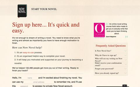 Screenshot of Signup Page nownovel.com - Start and Finish Writing a Book | Now Novel - captured Aug. 14, 2016