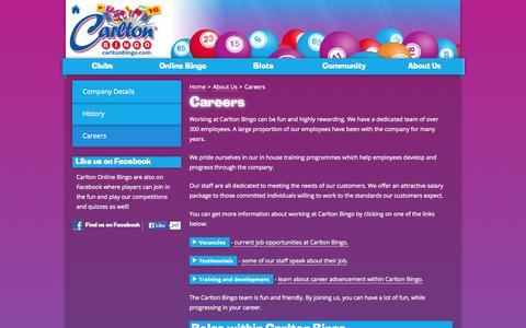Screenshot of Jobs Page carltonbingo.com - Careers - Carlton Bingo - captured Oct. 2, 2014