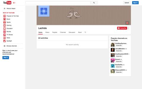 Screenshot of YouTube Page youtube.com - Lachido  - YouTube - captured Oct. 22, 2014