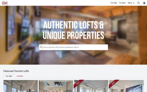 Screenshot of Home Page mrloft.ca - MrLOFT.ca | Toronto LOFTS for Sale | Toronto's HOTTEST LOFTS - captured Sept. 23, 2018